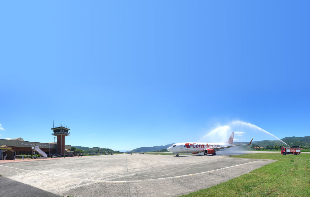 Corendon Airlines - Boeing 737-800 Touched Down  for the first time at Zonguldak Airport